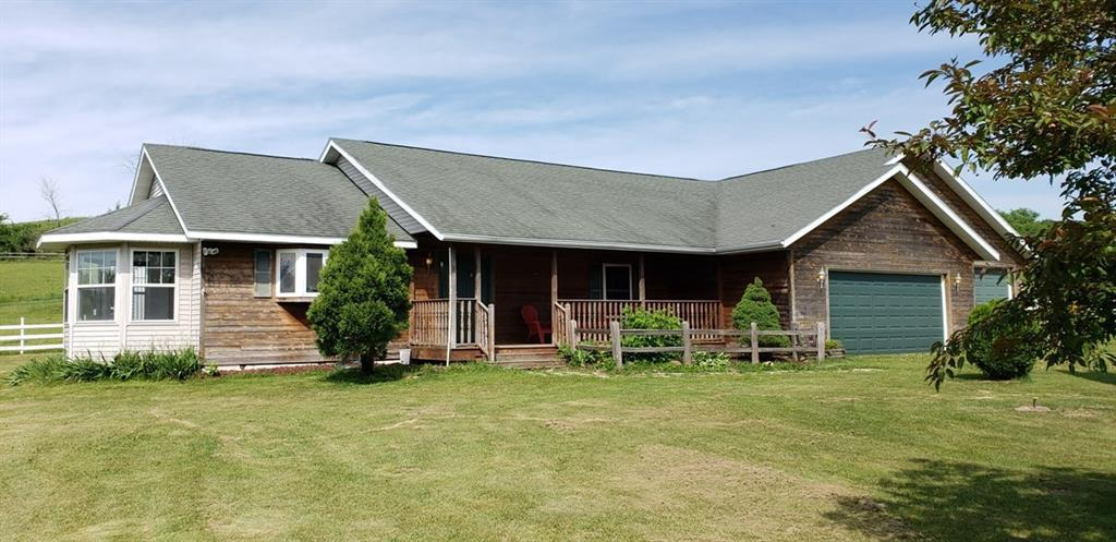 4-bedroom ranch located just North of Menomonie, easy access to I-94.  Offers fenced pastures with pole-barn (30' x 45') with horse stalls.  Lofting shed with open-front (16' x 26')  Ideal setting for horse/hobby farm, many possibilities.  Spacious home offers lg kitchen with oak cupboards & center island.  Built-in oven/range.  Living room has gas fireplace & patio door to back deck.  Covered front porch.  Lg Mst bdrm w/walk-in closet, full bath/whirlpool tub.  A must see