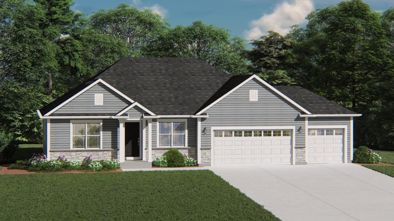 NEW Construction- Located in Farmstead Creek Highlands - This beautiful Charleston model has all the amenities you are looking for! This split bedroom home has a Flex Room at the front of the home for added space just waiting for your personal touch! The main living area is an open area concept connecting the Kitchen, Dinette and Family Room. The Kitchen includes quartz countertops, a workspace Island with overhang for seating, and is open to the Family Room which has a gas fire place with beautiful stone to ceiling detail. The Owner's Suite features a box tray ceiling, 2 large walk-in- closets and a double bowl vanity. Other features include a spacious family foyer, private laundry room, LVP flooring, and a lower level with a look-out exposure for future expanded living space.