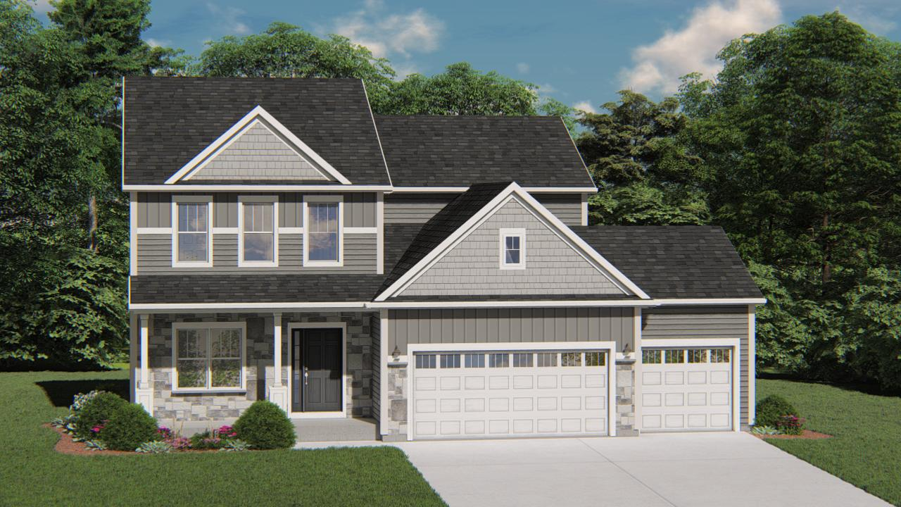 NEW Construction- Ready April 2021 - This beautiful Hudson model has all the amenities you are looking for! The Kitchen includes quartz countertops, a workspace island with overhang for additional seating, and is open to the Family Room which has a gas fireplace with beautiful stone to 9ft ceiling detail and LVP Flooring. The Owner's Suite features a box tray ceiling and luxury master bath, a large walk-in-closet and a double bowl vanity. Other Highlights include Secondary Bedroom WIC's, 1st floor Flex room just waiting for your personal touch, a lower level with a full bathroom rough-in for future living space and much more!